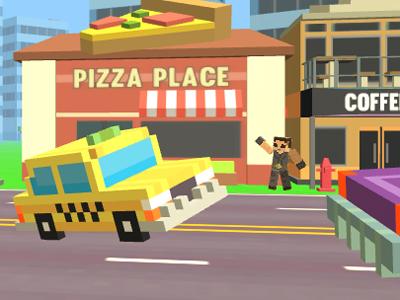 Online hra Pixel Road Taxi Depot